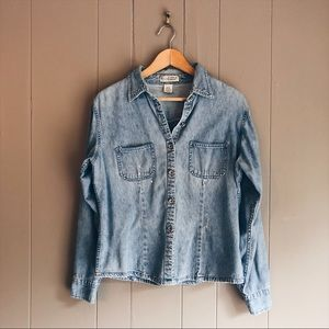 Vintage 80's Distressed Chambray Denim Shirt